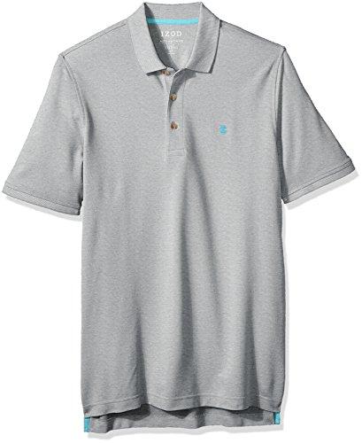 IZOD Men's Size Big and Tall Advantage Performance Short Sleeve Solid Polo Shirt, light grey heather, 4X-Large Tall Slim