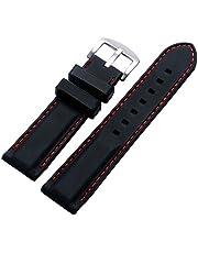 YISUYA Correa de Silicona para Reloj, 24 mm, Hebilla de Acero Inoxidable, Impermeable, Color Negro con Banda roja