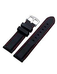 YISUYA Black 24mm Rubber Silicon Silicone Stainless Steel Pin Buckle Waterproof 2.4cm Watch Strap Band Red Rope for Watches