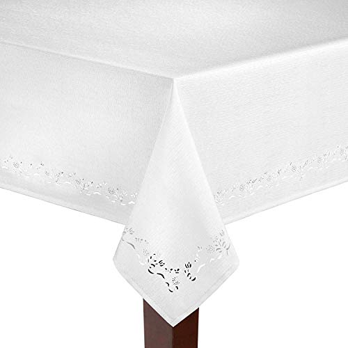 Spring Bouquet Cutwork Cloth Tablecloths - Assorted Colors, Assorted Sizes - Square,Oblong and Round 100% Polyester by Elrene Home Fashions (White, 60 x 102 -