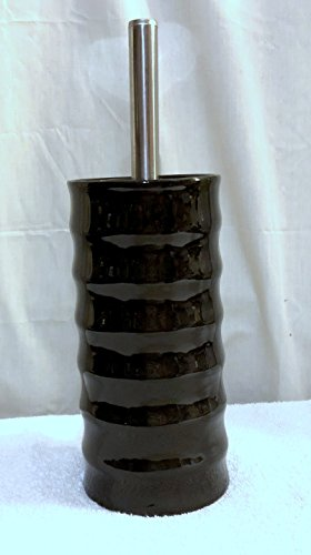 New Toilet Brush Set Bathroom Decor Toilet Bowl Brush and Ceramic Holder Stainless and Black Ribbed