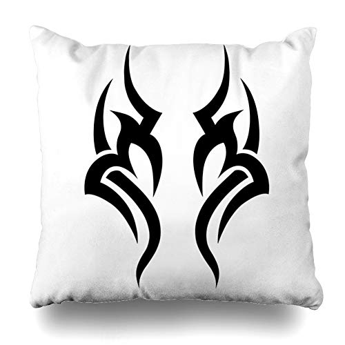 Ahawoso Throw Pillow Cover Tribal Ankle Pattern Tattoo Abstract Scroll Arm Armband Black Celtic Chest Design Couple Decorative Cushion Case 16x16 Inches Square Home Decor Pillowcase