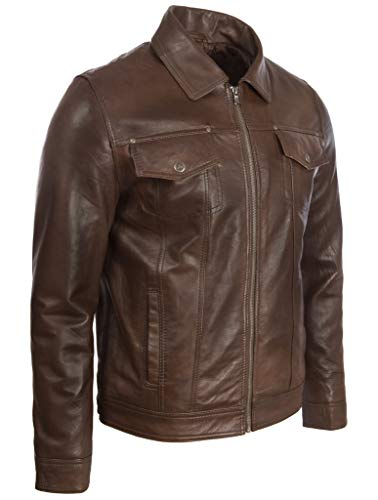 agq5 In Brown Vera Aviatrix Uomo Giacca Pelle Classica Nevada Harrington npxnAfw4q