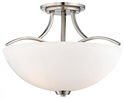 Brushed Nickel 3 Light Semi-Flush Ceiling Fixture in Brushed Nickel from the Overland Park Collection Model-4962-84