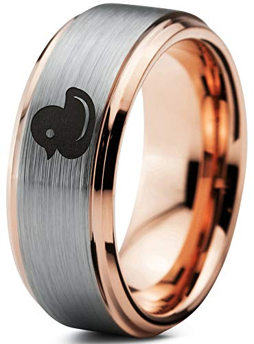 Zealot Jewelry Tungsten Rubber Ducky Duck Band Ring 8mm Men Women Comfort Fit 18k Rose Gold Step Bevel Edge Brushed Polished Size 10 -