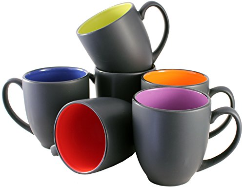 ITI Ceramic Bistro Hilo Coffee Mugs with Pan Scraper, 14 Ounce (6-Pack, Assorted)
