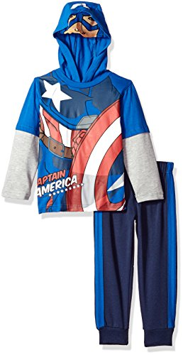 Marvel Little Boys' 2 Piece Captain America Hoodie Set with Mask, Blue, 3T