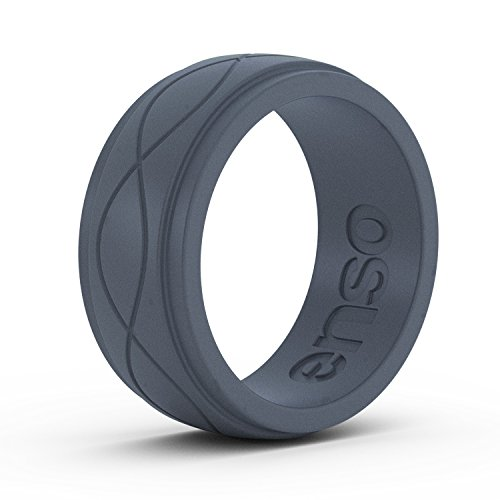 Enso Rings Men's Infinity Silicone Ring | Lifetime Quality Guarantee | an Ultra Comfortable, Breathable, and Safe Silicone Ring (Slate, 10)