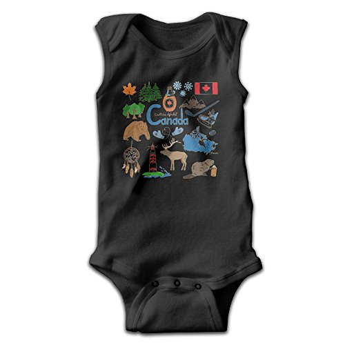 [YiYa Infants Boy's & Girl's Canada Short Sleeve Romper Bodysuit Outfits For 0-24 Months Black 6 M] (Toddler Conductor Outfit)