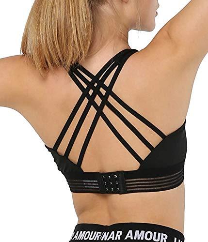 Snailify Women's Sports Bra Strappy High Impact Crisscross Halter Adjustable Back Padded Bras - Yoga Gym Workout