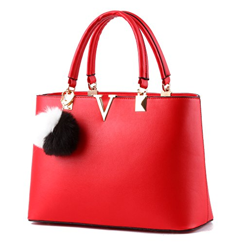 Red Shoulder Bag Purse (Pahajim women top handle satchel PU leather handbags tote purse V word shoulder bag (red))