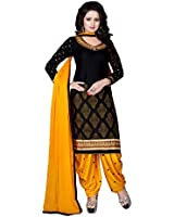 Aarvicouture Womens Cotton Party Wear Unstitched Salwar Suit Dress Material (Black)