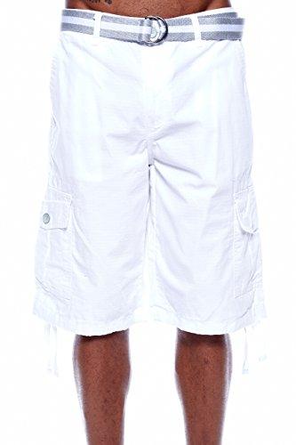 MEN'S SOUTHPOLE CARGO BASIC BELTED SHORTS 9001-3341 (34, White) (White Cargo Shorts)