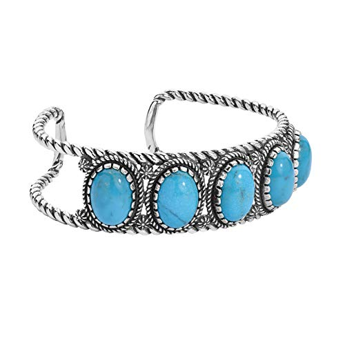 American West - Sterling Silver & Turquoise Five Stone Cuff Bracelet- Large - Classics Collection