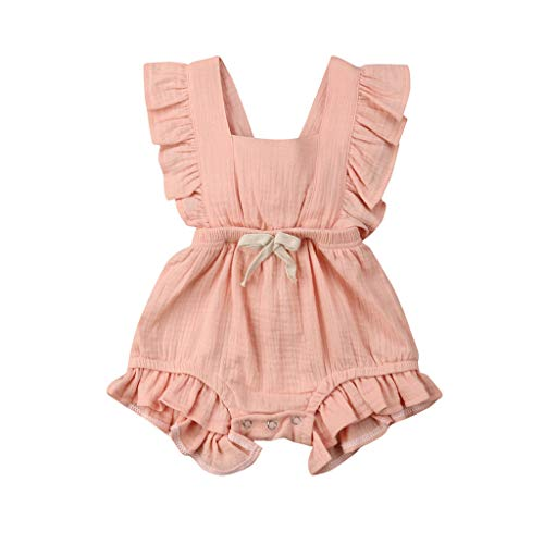 Ruffle Bed Jacket - WOCACHI Toddler Baby Girls Clothes, Newborn Infant Baby Girls Color Solid Ruffles Backcross Romper Bodysuit Outfits 2019 Spring Summer Under 5 Deals Allowance Campaign Pink