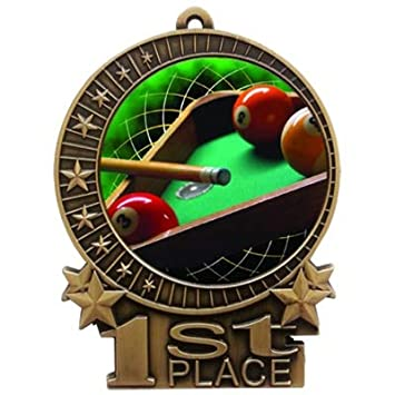 Express Medals Large 3' Pool Billiards 1st Place Medal Gold with 3 Lines of Personalized Free Engraving and Neck Ribbon Award Trophy XMD