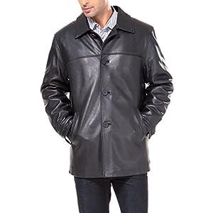 BGSD Men's Samuel New Zealand Lambskin Leather Car Coat (Regular Big & Tall)