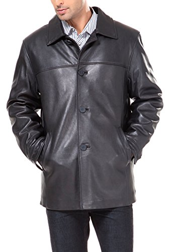 BGSD Men's ''Samuel'' New Zealand Lambskin Leather Car Coat - Big & Tall 2XLT by BGSD
