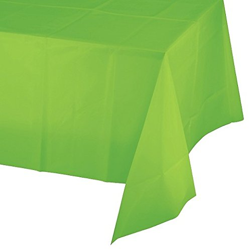12-Pack Disposable Plastic Tablecloths - 54 x 108 Inch size Table Cloth – Ideal Rectangular Table Covers for Any Tables upto 8 Feet Long – Easy Clean-up of Post-Event Mess (Lime Green)