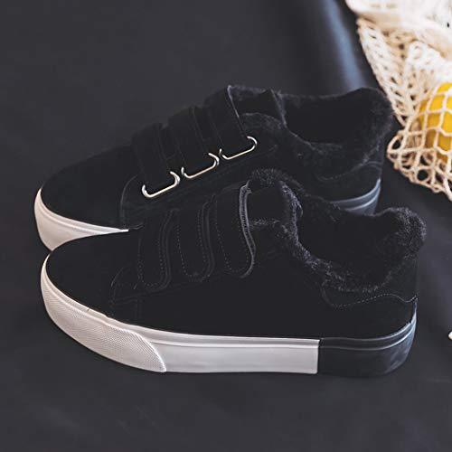 Women 38 Winter Flat Low Warm Negro Tamaño Shoes Velcro Negro Top Moda Black Sneakers color w41CqIw