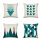 BOOMTECK Throw Pillow Covers, Set of 4 Cotton Linen Decorative Square Throw Pillow Cases 18 x 18 Inches Simple Geometric Burlap Cushion Cover Pillowcase for Living Room Couch Sofa Bed (Blue Triangle)