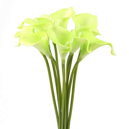 Leagel Calla Lily Bridal Wedding Bouquet Head Lataex Real Touch Flower Bouquets (10, (Calla Green)