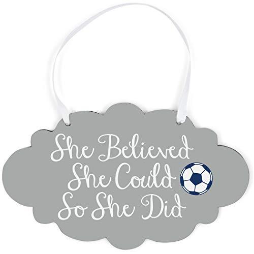 ChalkTalkSPORTS Soccer Cloud Sign | She Believed She Could (Script) | Gray ()