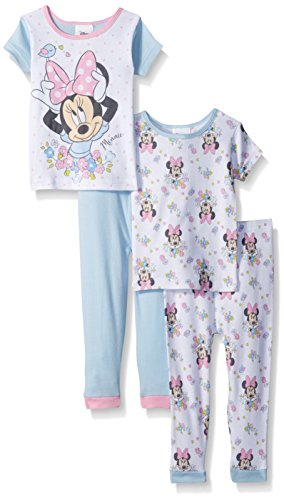 [Disney Little Girls' Toddler Minnie Mouse 4-Piece Cotton Pajama Set, White, 2T] (Little Girl Minnie Mouse Costumes)