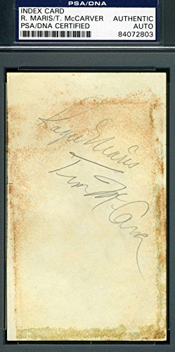 - ROGER MARIS TIM MCCARVER PSA DNA Autograph 1960`S 3x5 Index Card Hand Signed Authentic