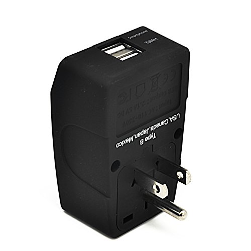 Ceptics GP4-5 2 USB USA Travel Adapter 4 in 1 Power Plug (Type B) - Universal Socket