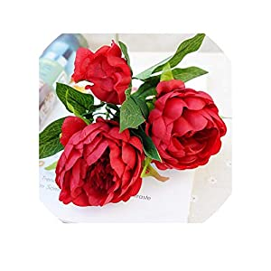 Artificial Silk+Plastic Peony Flower Branch with Leaves Flores Peonies for Indoor Home Decor DIY Wedding Decorations,G 11