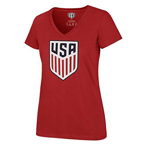 U.S. Soccer Men's National Team Women's OTS Rival V-Neck Tee, Logo Red, Small ()