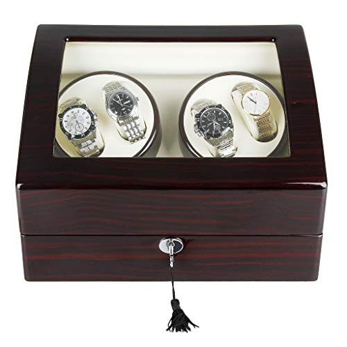 CRITIRON 4+6 Automatic Watch Winder Luxury Storage Case Rotating Display Box, Wood Shell with Piano Paint