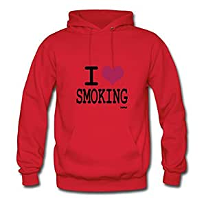 Bradfohod X-large Style Personality Red Hoody - I Love Smoking By Wam Printed,women