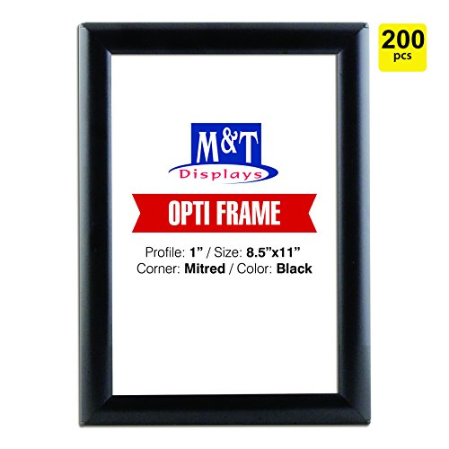 DisplaysMarket 8.5x11  Snap Frame for Wall Mount, Opti Frame, 1 inch Profile-  Black, 200 by M&T Displays (Image #4)