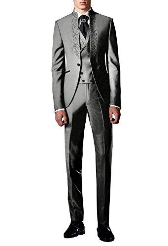 Smokings Hommes Costume Blazer pantalon Pcs De Party Broderie Suit Gris Tuxedo 3 gilet Mariage Me Costumes 5HqwxXUz
