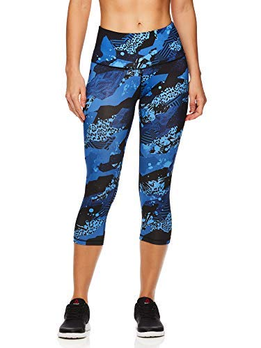 Reebok Women's Capri Workout Leggings w/High-Rise Waist - Cropped Performance Compression Tights - Printed Highrise Medieval Blue, Small (Reebok Women Compression Shirt)
