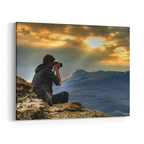 Rosenberry Rooms Canvas Wall Art Prints - Nature Photographer with Digital Camera On Top of The Mountain HDR (30 x 24 inches)