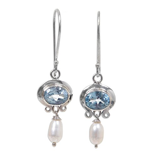 NOVICA Cultured Freshwater Pearl and Blue Topaz Earrings, Sterling Silver Hooks, Sky Fantasy'