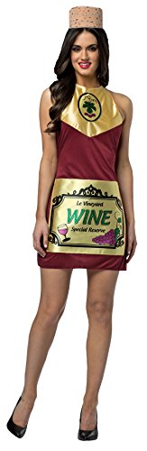 Wine And Cheese Halloween Costume (Rasta Imposta Women's Wine Dress w/Hat Funny Theme Party Outfit Halloween Costume, OS (Up to)