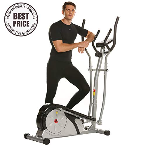 ncient Elliptical Machine Eliptical Trainer Exercise Machine for Home Use Magnetic Smooth Quiet Driven with LCD Monitor and Pulse Rate Grips (Elliptical-Gray) (Best Stride Length For Elliptical)