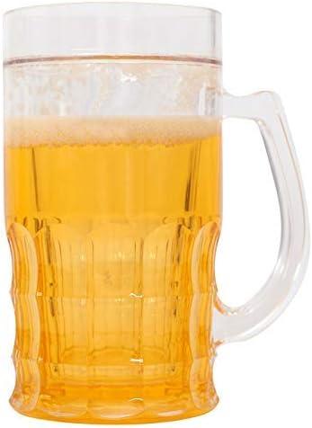 MEYLEE Taza de Cerveza, Doble Pared Helada congelador Cerveza ...