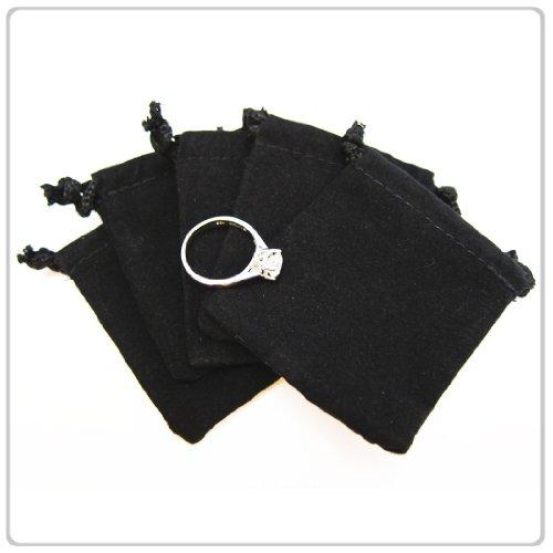 Velour Drawstring (100x Black Velvet/Velour Jewelry Gift Pouch 3x4 inch Drawstring