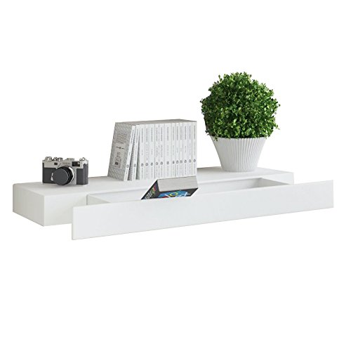 WALLNITURE Wall Mountable Floating Shelf with Drawer White