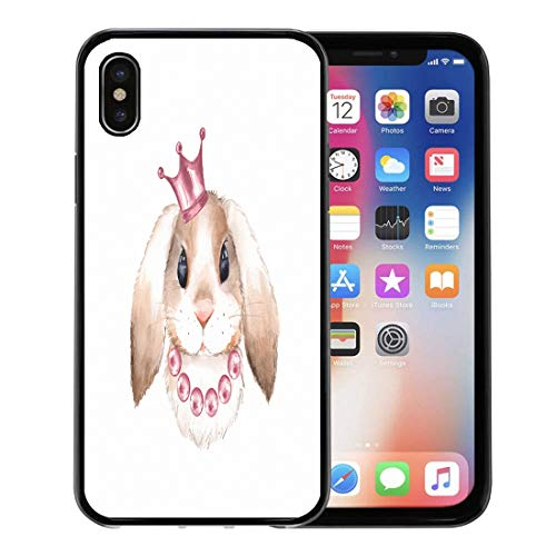 Semtomn Phone Case for Apple iPhone Xs case,Pink Girl Rabbit and Crown Watercolor Animal Farm Beads Princess Bunny for iPhone X Case,Rubber Border Protective Case,Black