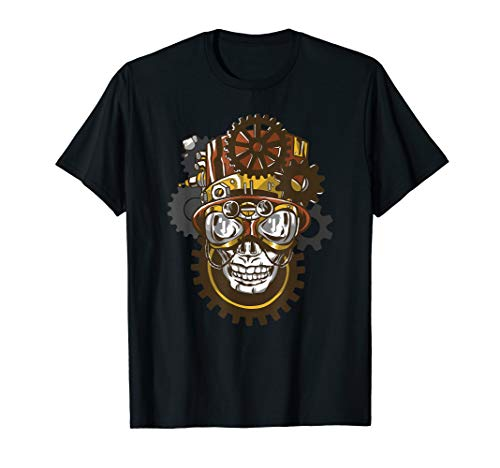 Steampunk Goggles Skull Head with Top Hat Gears Gothic Gifts T-Shirt