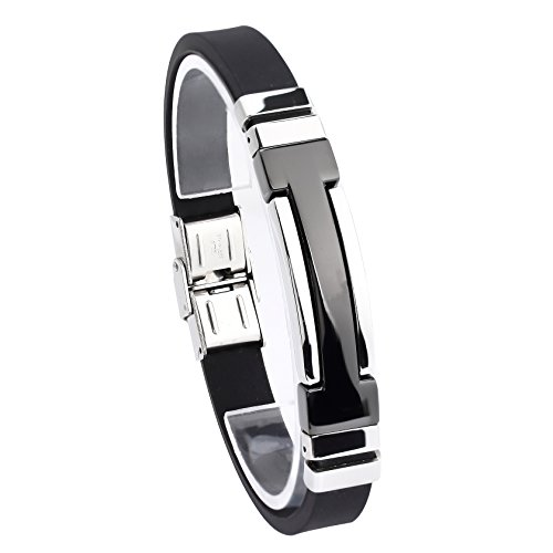 Jusnova Stainless Steel Black Rubber Bracelet Bangle for Men 9 Inches Black & Silver Tone