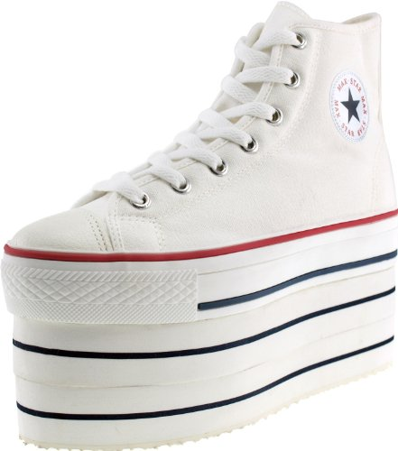 Sneakers Zipper Maxstar Platform White Super Shoes Double Canvas XFFqH1aw