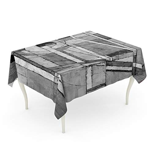 Tarolo Rectangle Tablecloth 60 x 102 Inch Black Monochrome Abstract Painting Modernist White Abstracted Abstraction Arch Table Cloth