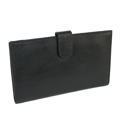 Paul & Taylor Leather Checkbook Cover Wallet, Black